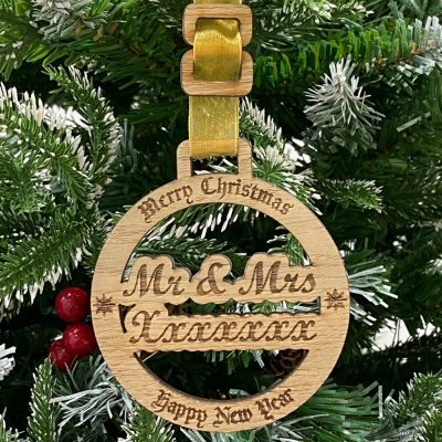 Personalised Wedded Bliss Bauble
