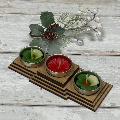 Tea Light Square Wooden