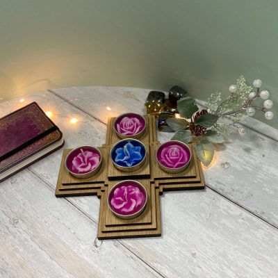 Tea Light Cross Wooden
